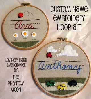 Custom Name Embroidery Hoop Art_4